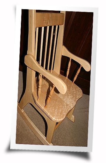 Birdseye Hard Maple Rocing Chair made by John Daly