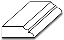 "BS001 - 1/2"" x 1 1/2"" Base Shoe Moulding with Bead & Cove - 3D"